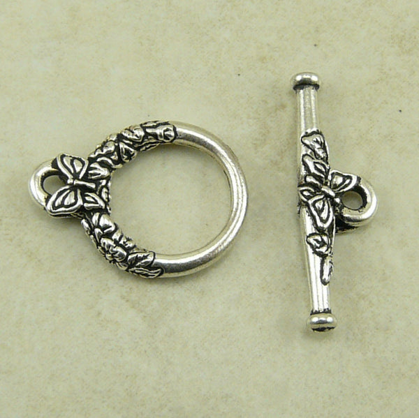 Butterfly Toggle Clasp Qty 1 - Tierra Cast Silver Plated Lead Free Pewter