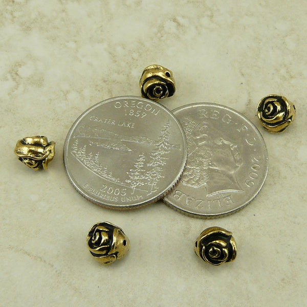 Rose Flower Beads - Qty 5 Beads - TierraCast Antiqued 22kt Gold Plated Lead Free Pewter
