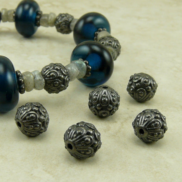 Casbah Round Beads - Qty 5 - TierraCast Black Ox Plated Lead Free Pewter