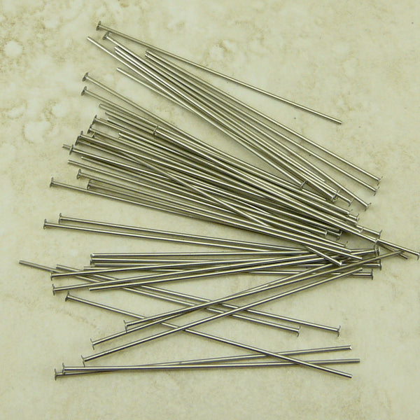2 inch 21 gauge Nickel Headpins - Qty 50 - TierraCast Nickel Silver