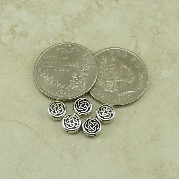 Small Celtic Circle Beads - Qty 5 Beads - TierraCast Fine Silver Plated Lead Free pewter