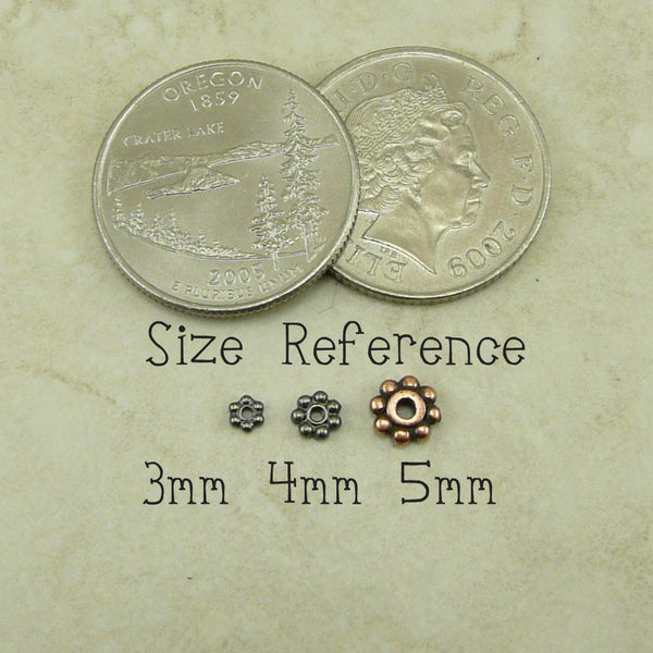 3mm Beaded Daisy Spacer Beads - Qty 50 - TierraCast Copper Plated Lead Free Pewter