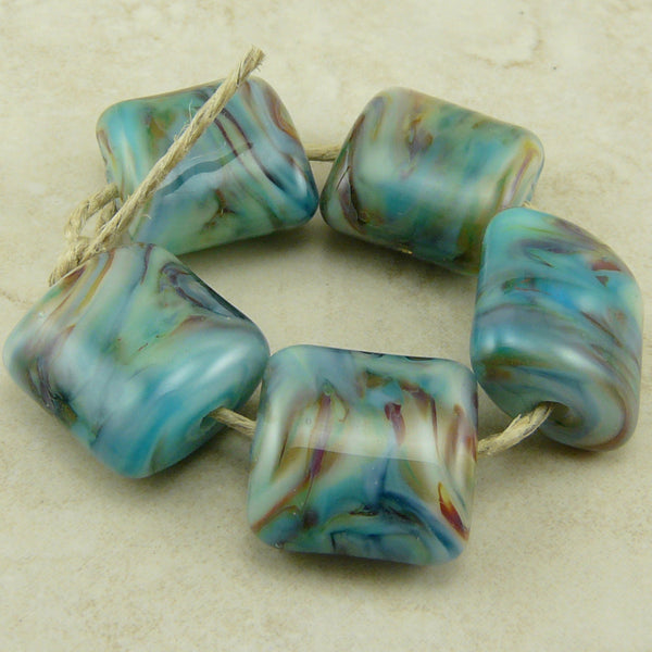 Denim Blue and Leather colors -  Lampwork Bead Set by Dragynsfyre Designs - SRA