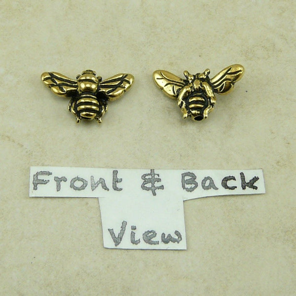 Honey Bee Beads - Qty 5 Beads - TierraCast 22kt Gold Plated Lead Free Pewter