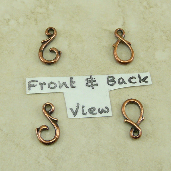 Vine Hook and Eye Clasp - Qty 2 Clasps - TierraCast Copper Plated Lead Free Pewter
