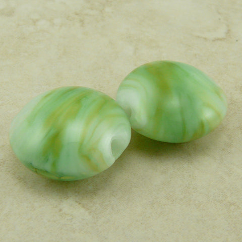 Spring Green Grasses - Lentil Lampwork Bead Pair by Dragynsfyre Designs - SRA