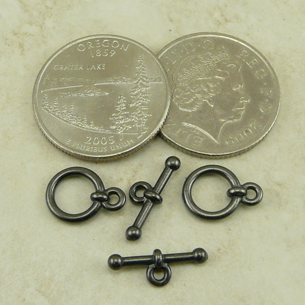 Small Anna's 3/8 Inch Toggle Clasp - Qty 1 Clasp - TierraCast Black Ox Plated LEAD FREE Pewter