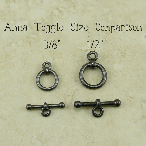 1/2 inch Anna's Toggle Clasp - Qty 1 Clasp - TierraCast Black Ox Plated LEAD FREE Pewter