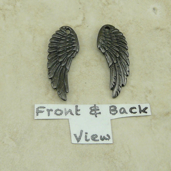 Wing Charms - Qty 4 Charms - TierraCast Black ox plated Lead Free Pewter