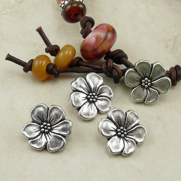 Apple Blossom Flower Buttons - Qty 3 Buttons - TierraCast Silver Plated LEAD FREE Pewter