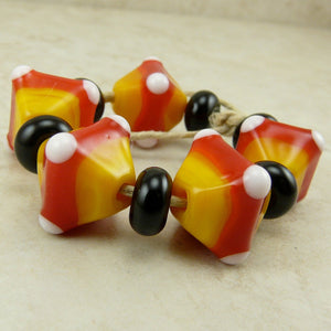 Candy Corn Crystals - Halloween Colors  - Lampwork Bead Set by Dragynfyre Designs - SRA