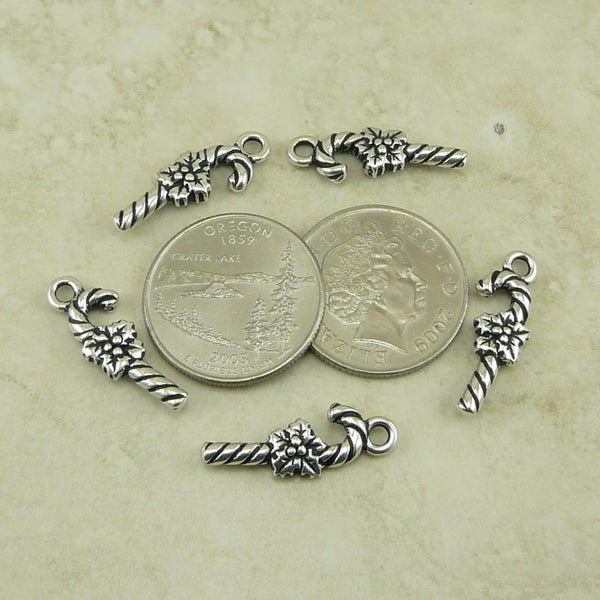 Candy Cane Charms - Qty 5 Chamrs - TierraCast Silver Plated Lead Free Pewter
