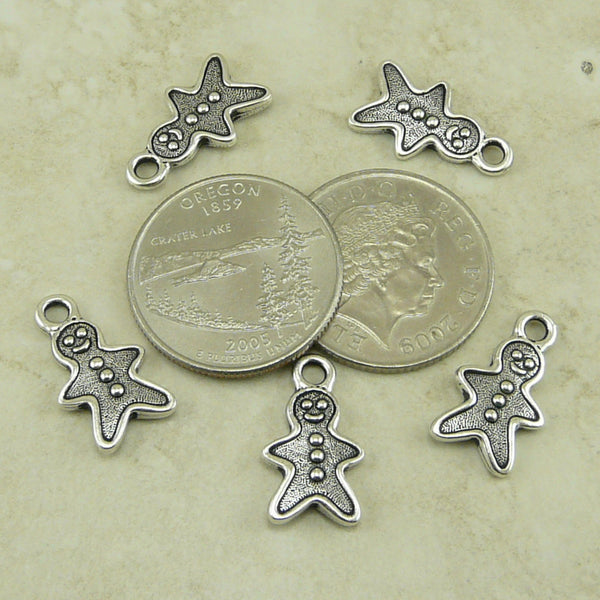 Gingerbread Man Charm - Qty 5 Charms - TierraCast Silver Plated Lead Free Pewter