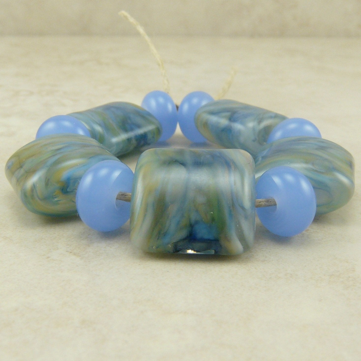 Sea Grass - Blue Green Moss - Lampwork Nugget Bead Set by Dragynsfyre Designs - SRA