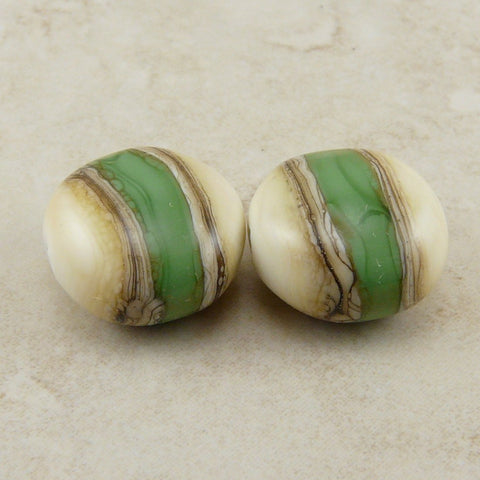 Holly Green Silvered Ivory - Lampwork Bead Pair by Dragynsfyre Designs - SRA