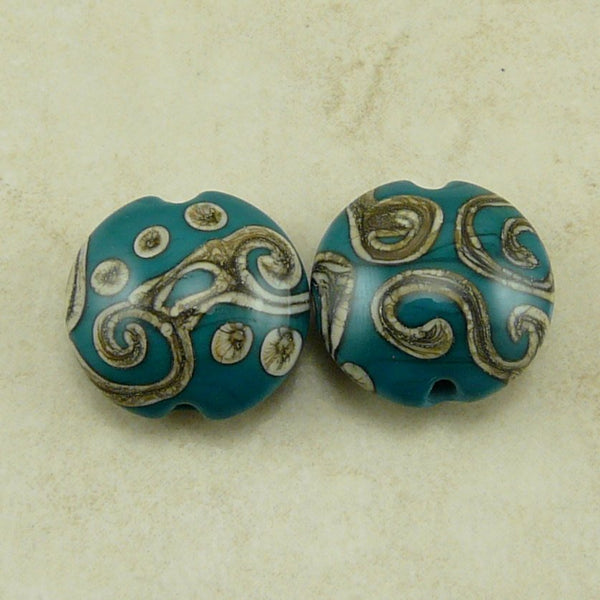 Inca Swirls - Lampwork Bead Pair by Dragynsfyre Designs - SRA