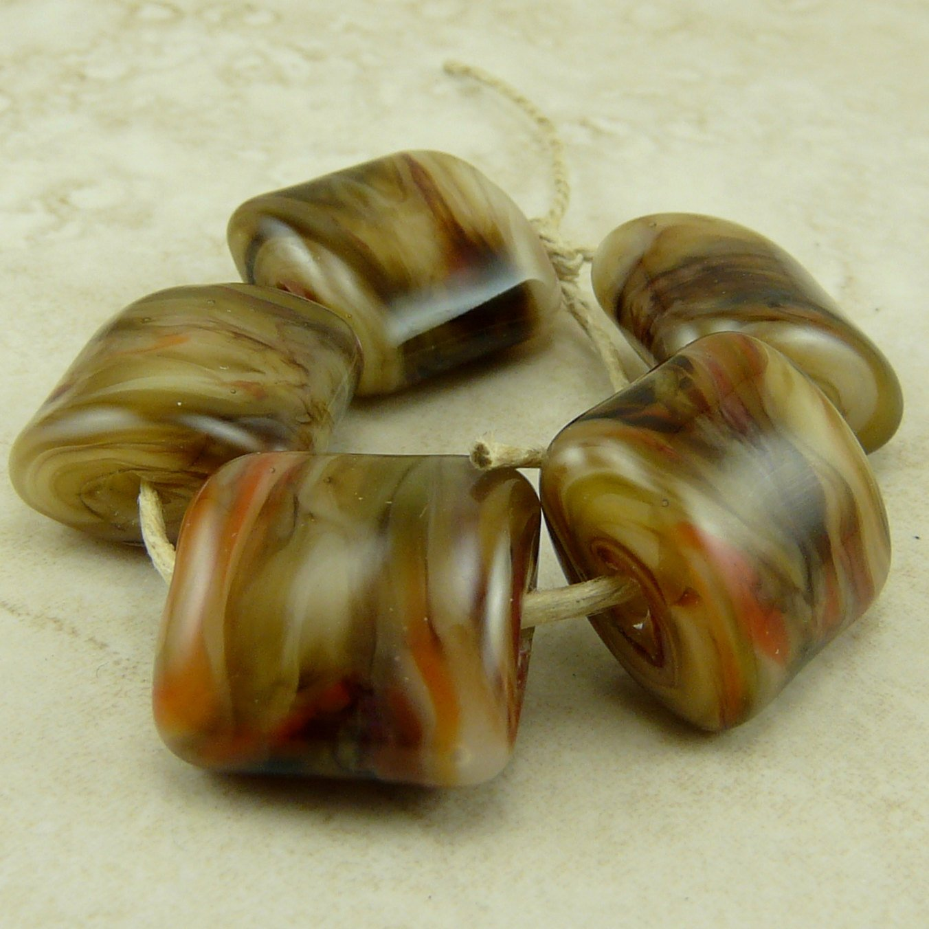 Autumn Leaves are Falling - Lampwork Bead Set by Dragynsfyre Designs - SRA