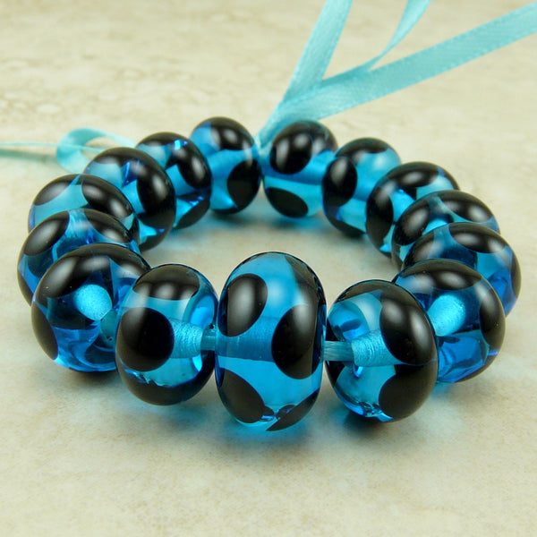 Electric Blue with Black Dots - Lampwork Bead Set by Dragynsfyre Designs - SRA