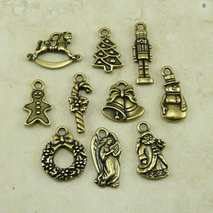 Christmas Holiday Charm Mix Pack - Santa Angel Bells Candy Cane - TierraCast Brass Ox-plated Lead Free Pewter - I ship Internationally