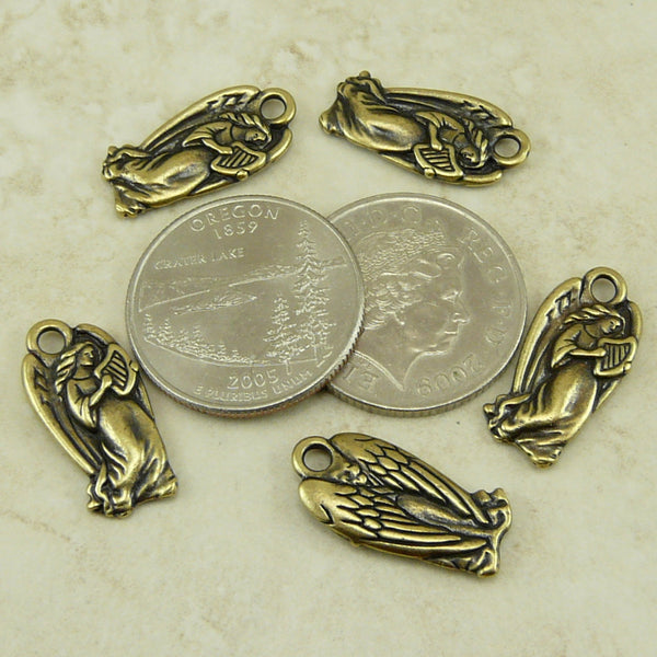 Angel Charms - Qty 5 Charms - TierraCast Brass Ox Plated Lead Free Pewter