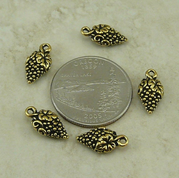 Grape Charm - Qty 5 Charms - TierraCast 22kt Gold Plated Lead Free Pewter DC