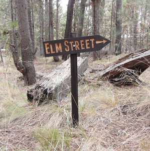 Elm Street Halloween Lawn Ornament Directional Sign - Nightmare Freddy Krueger - Carved Cedar Wood