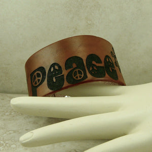 Peace Leather Cuff Bracelet - Laser Burned Adjustable Men Women Double Snap Closure