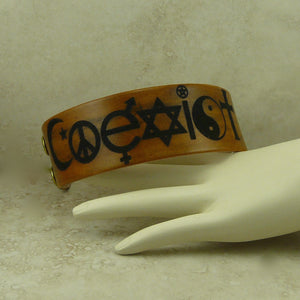 Coexist World Peace Leather Cuff Bracelet - Laser Burned Adjustable Snap Closure