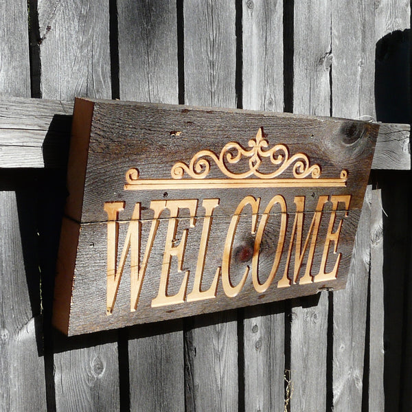 Western Style Welcome Sign - Engraved on Reclaimed Barn Wood