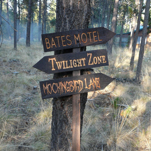 Halloween Lawn Ornament Sign - Bates Motel Twilight Zone Mockingbird Lane - Carved Cedar Wood