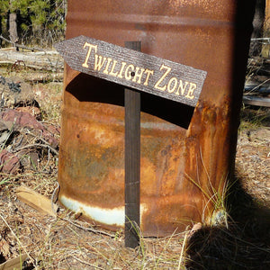 Twilight Zone Halloween Lawn Ornament Sign - Carved Cedar Wood