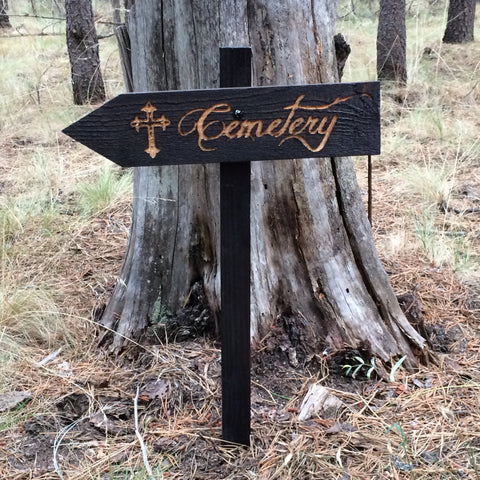 Cemetery Cross Halloween Lawn Ornament Sign - Carved Cedar Wood Holiday Decor
