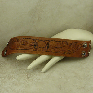 Egyptian Winged Sun of Thebes Leather Cuff Bracelet - Laser Engraved Adjustable Men Women