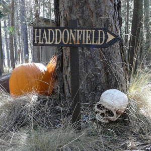 Haddonfield Halloween Lawn Ornament Directional Sign - Carved Cedar Wood