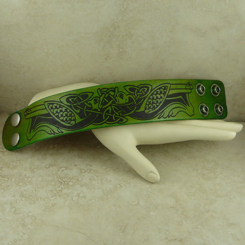 Celtic Knot Bird Motif Leather Cuff Bracelet - Laser Burned Adjustable Snap Closure
