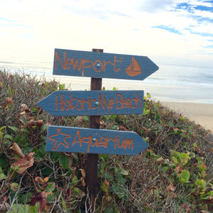 Newport Oregon Beach Directional Signs - Distressed Blue Painted Cedar Arrow - Customizable