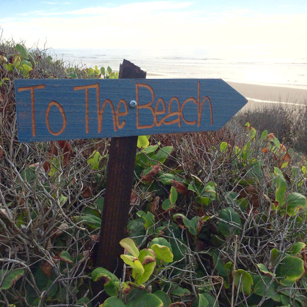 To the Beach Directional Sign - Ocean Beach House Vacation Coast