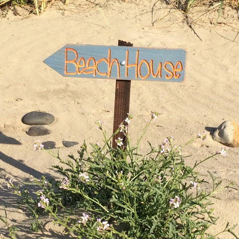 Beach House Directional Sign - Distressed Blue Carved Painted Cedar Arrow Signs