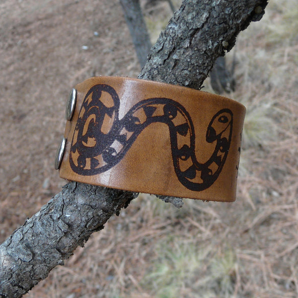 Snake & Lizard Sun Symbol Leather Cuff Bracelet - Adjustable Men Women Double Snap Closure