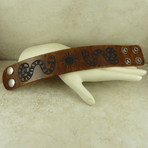 Snake and Sun Symbol Leather Cuff Bracelet Adjustable Men Women Double Snap Closure