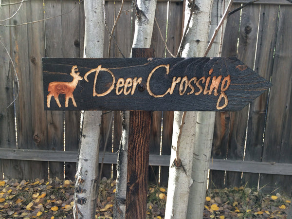 Small Deer Crossing Lawn Ornament Sign - Doe Buck Forest Creature Cabin Decoration - Cedar Wood Decor