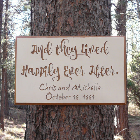 They Lived Happily Ever After Wedding Sign Plaque - Custom Painted & Engraved MDF Wood