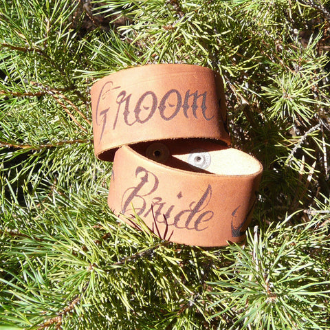 Bride & Groom Tattoo Style Leather Cuff Bracelet - Laser Burned Adjustable Snap Closure