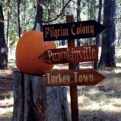 Thanksgiving Lawn Ornament Directional Sign Set - Carved Cedar Wood Signs