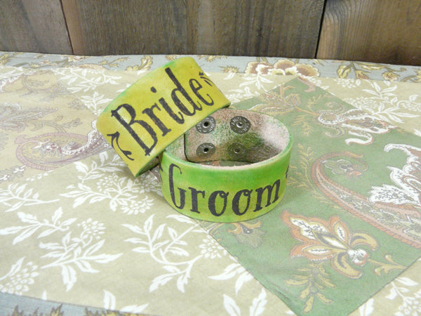 Bride & Groom Nature Vine Style Leather Cuff Bracelets - Laser Burned Adjustable Snap Closure