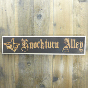 Alley Sign - Dark Brown & Ivory Painted and Carved Wood