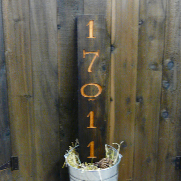 Rustic Weathered Cedar Wood Address Number Sign
