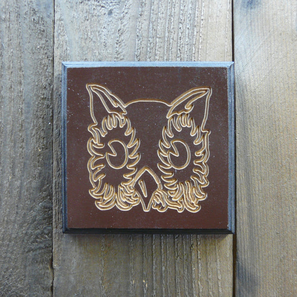 Owl Plaque Picture - Dark Brown & Black Painted and Carved Wood