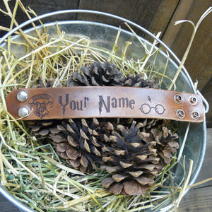 Custom Name Leather Cuff Bracelet -  Laser Burned Adjustable