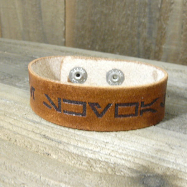Custom Name in Galactic Basic Aurebesh Leather Cuff Bracelet - Laser Engraved Adjustable Men Women